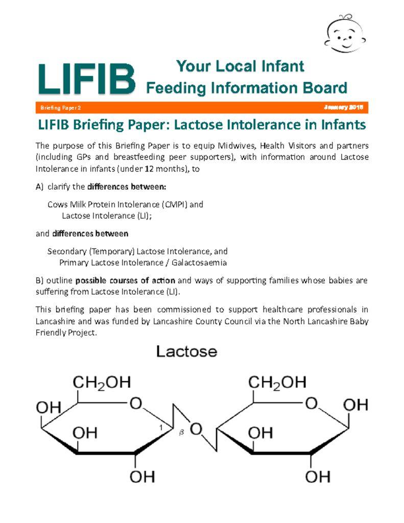 thumbnail of Lactose Intolerance Briefing Paper Jan 2015 V2